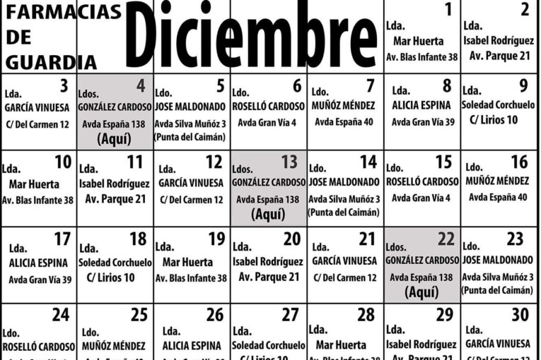 Farmacias de Guardia para el mes de Diciembre en Isla Cristina