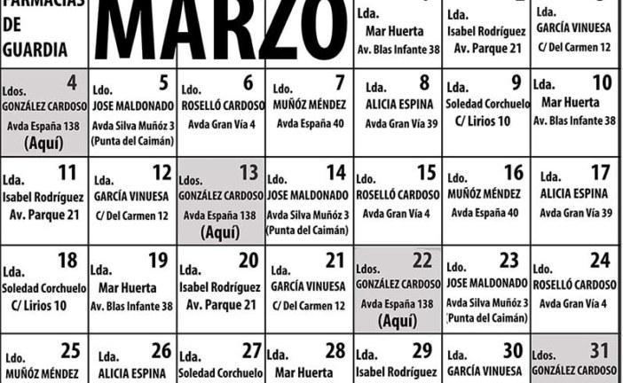 Farmacias de guardia en Isla Cristina para MARZO 2019