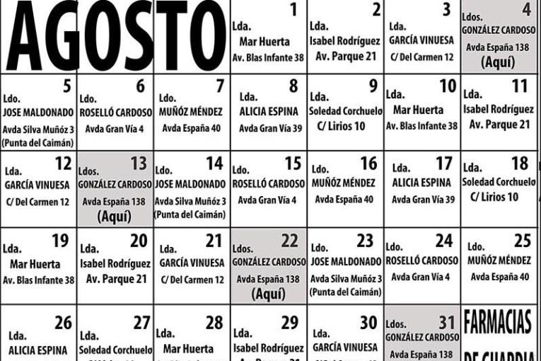 Farmacias de guardia Isla Cristina Agosto 2019