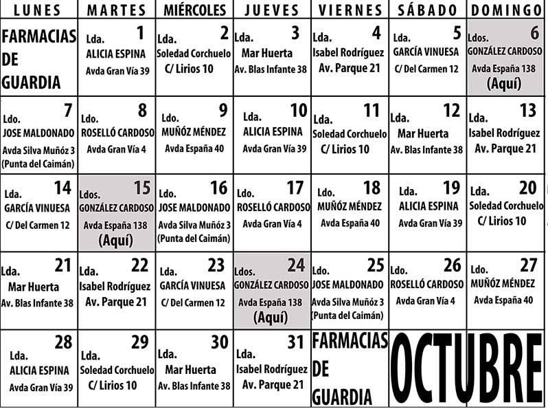 Farmacias de Guardia en Isla Cristina para el mes de octubre 2019