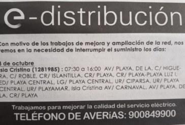 De interés General: Corte de suministro eléctrico en Isla Cristina