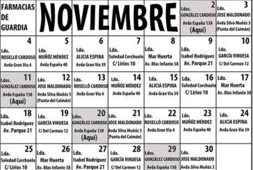 Farmacias de Guardia en Isla Cristina para el mes de noviembre 2019