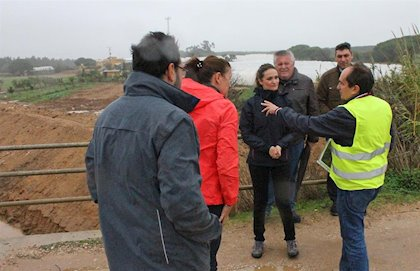 María Ponce (Cs) visita en Isla Cristina las explotaciones agrícolas afectadas por las inundaciones