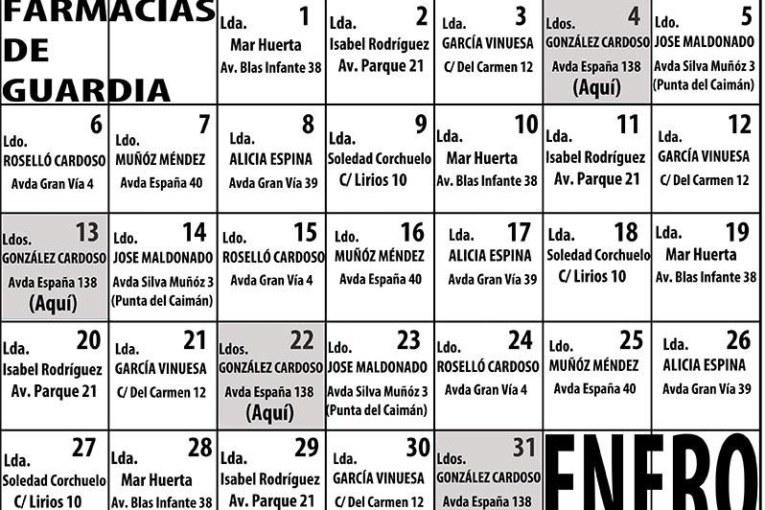 Farmacias de Guardia en Isla Cristina para el mes de Enero 2020