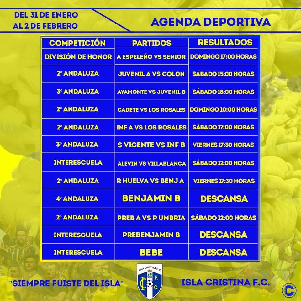 Agenda Futbolera fin de semana Isla Cristina FC