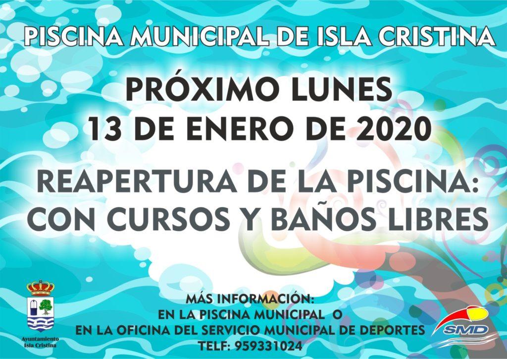 El próximo lunes reapertura de la piscina municipal de Isla Cristina