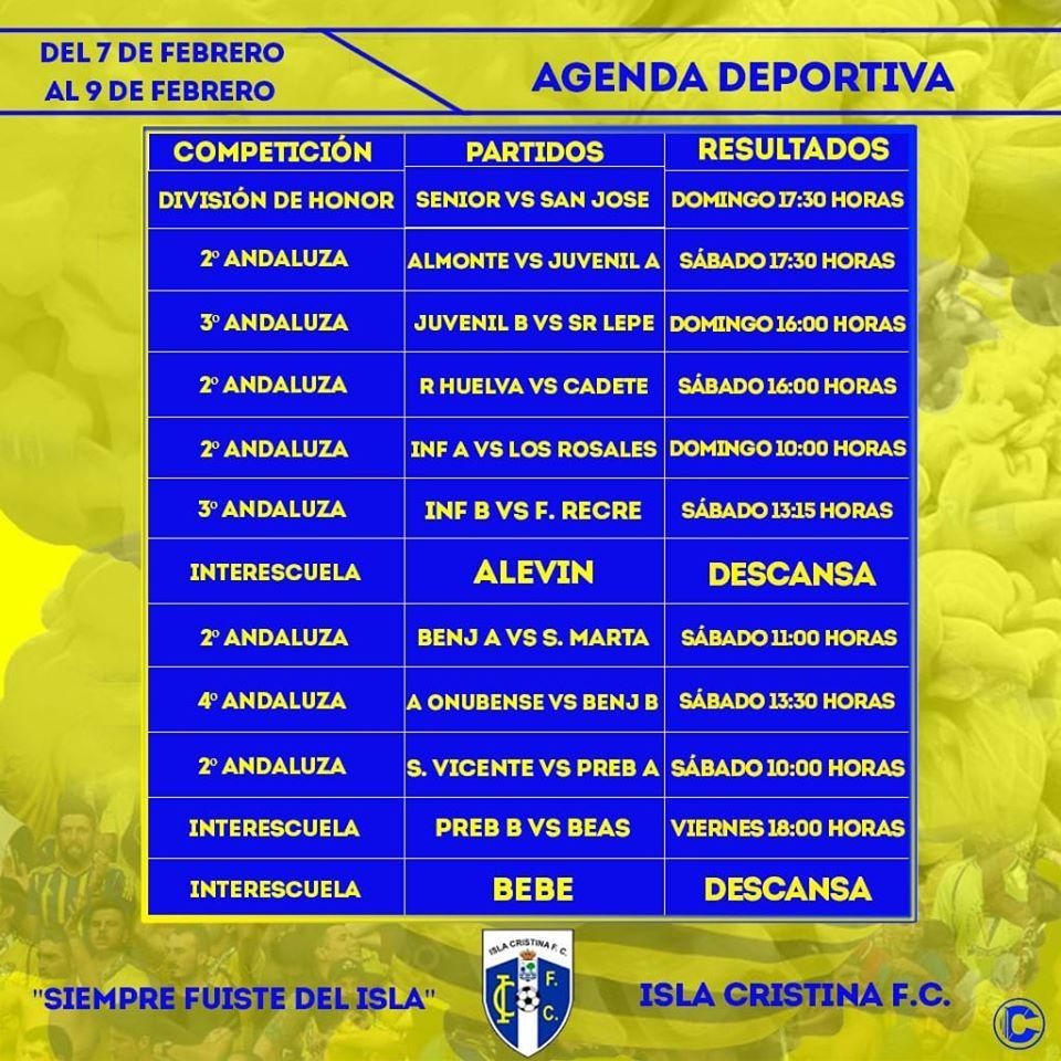 Agenda fútbolera Fin de Semana Isla Cristina FC