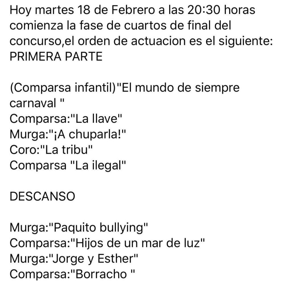 Orden de actuación Cuartos de final. Concurso de Agrupaciones Carnaval de Isla Cristina
