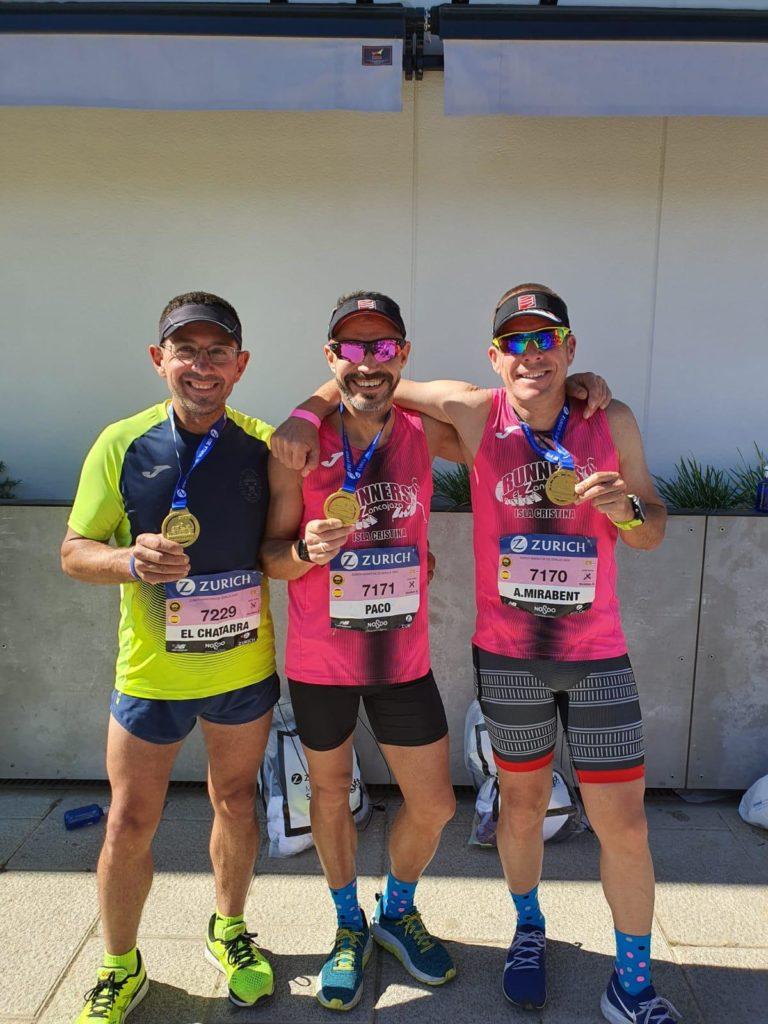 Participación de Paco Jiménez, Antonio Mirabent y Diego Cordero en el Maratón de Sevilla 2020