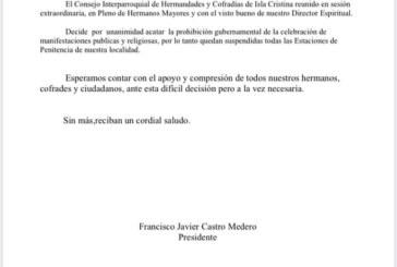 Comunicado Consejo de Hermandades y Cofradías de Isla Cristina