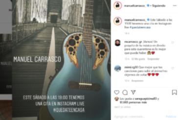 Concierto de Manuel Carrasco este sábado por Instagram