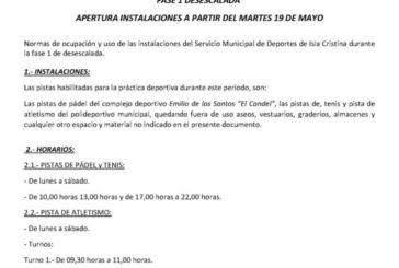 Protocolo y normas para practicar deporte en las instalaciones deportivas de Isla Cristina