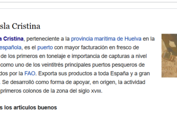'Puerto de Isla Cristina' portada mundial, en Wikipedia