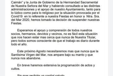 Se suspenden los actos lúdicos de las Fiestas de la Virgen del Mar 2020 de Punta del Caimán.