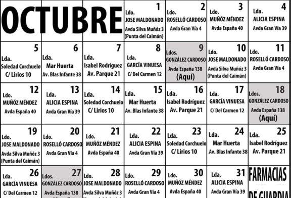 Farmacias de Guardia en Isla Cristina para el mes de Octubre 2020