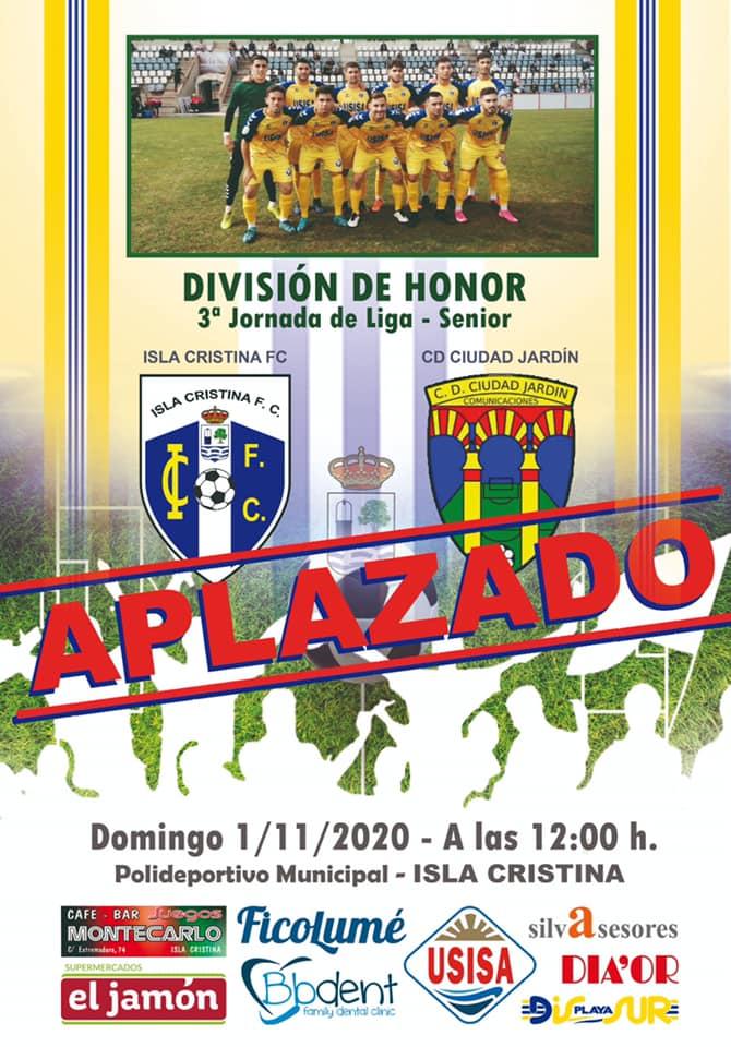 El Isla Cristina – Ciudad Jardín, aplazado debido a un positivo de Covid-19 en el club Cordobés