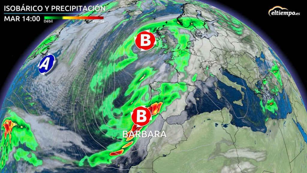 Un frente atlántico dejará lluvia abundante y fuerte