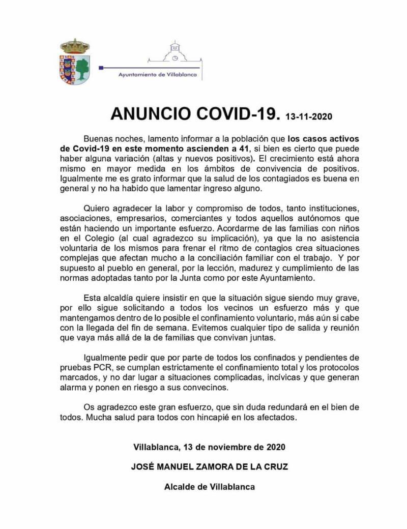 Villablanca con 41 Covid-19