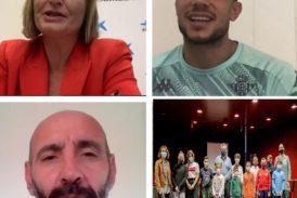 Monchi y Marc Bartra, con los niños isleños en la Semana de la Infancia