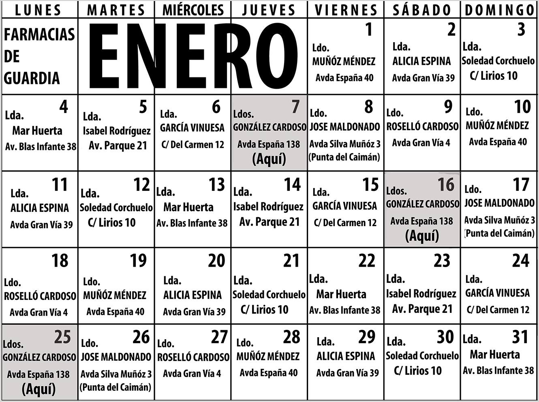 Farmacias de Guardia en Isla Cristina para el mes de Enero 2021