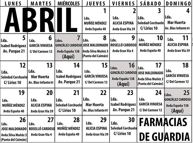 Farmacias de Guardia en Isla Cristina para el mes de Abril 2021