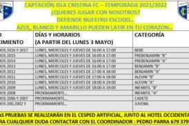 En Marcha la captación de jugadores para la cantera del Isla Cristina FC