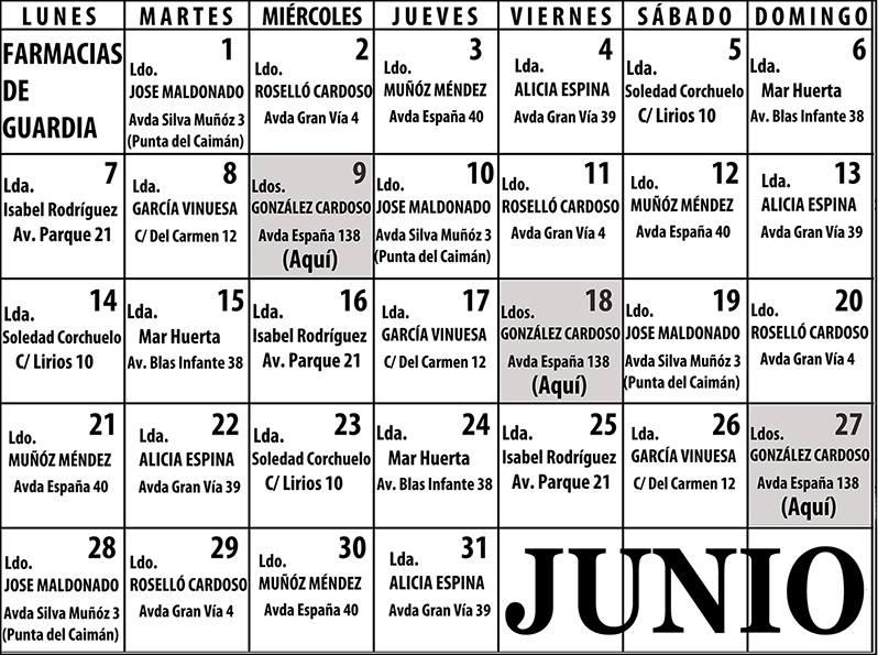Farmacias de Guardia en Isla Cristina para el mes de Junio 2021