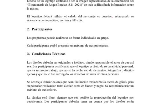 Isla Cristina: Bases Logo del Bicentenario de Roque Barcia