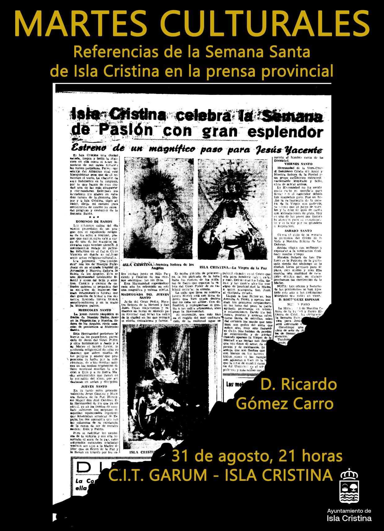 Conferencia: «Referencia de la Semana Santa de Isla Cristina en la Prensa Provincial»