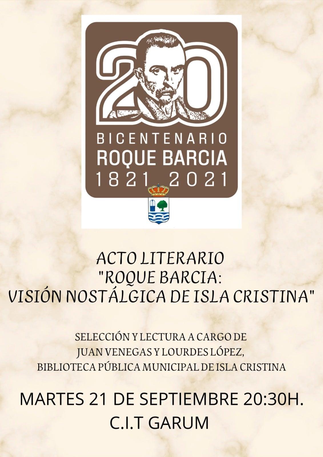 Acto literario «Roque Barcia: visión nostálgica de Isla Cristina»
