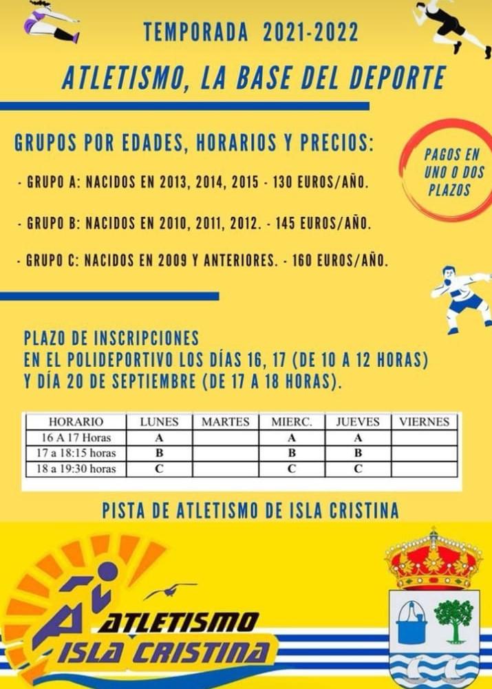 Abierto el plazo de inscripciones del Club Atletismo Isla Cristina