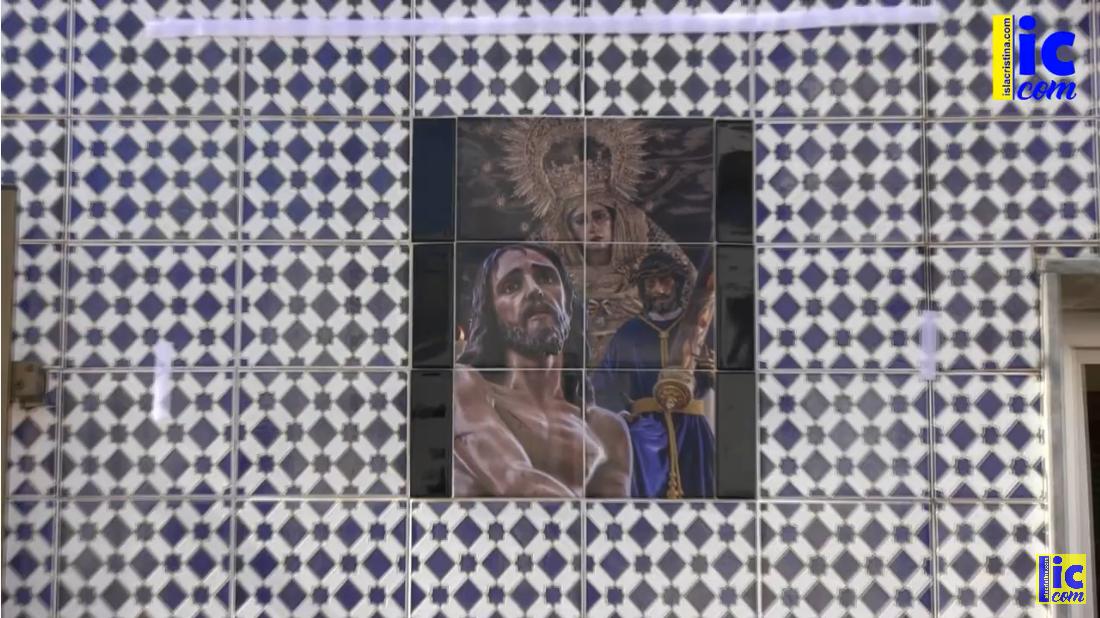 Azulejo con motivo del 75 Aniversario H.dad Flagelación en la casa de «Manolito de los Santos».