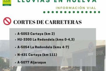 Cortadas cinco carreteras de la provincia de Huelva por los efectos de la lluvia