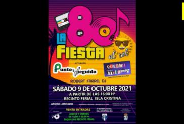 Presentación de la Fiesta de los 80s a beneficio del Isla Cristina FC
