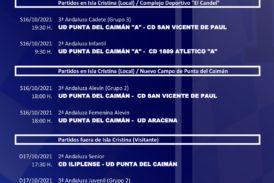 Agenda de partidos fin de semana equipos U.D. Punta del Caimán