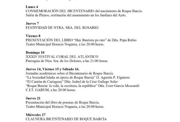 Programación Cultural de Isla Cristina para el mes de Octubre 2021
